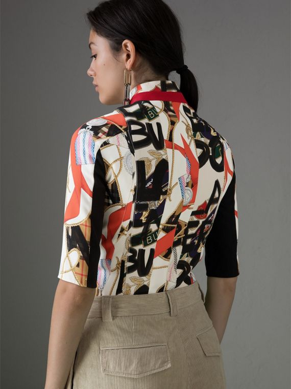 Graffiti Archive Scarf Print Silk Wool Half-zip Top in Stone - Women | Burberry - cell image 2