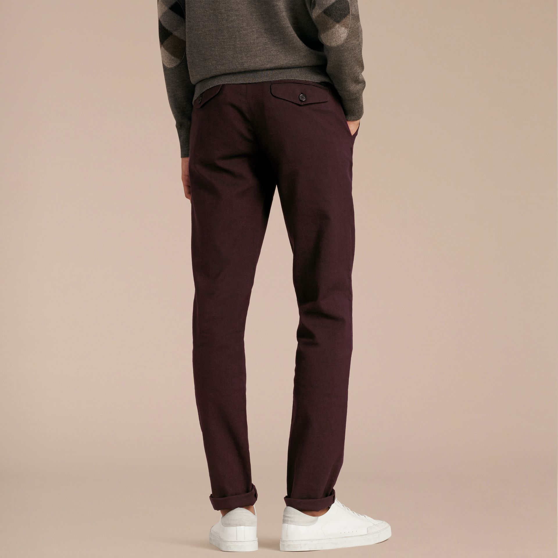 Deep claret Tailored Cotton Wool Blend Trousers - gallery image 3