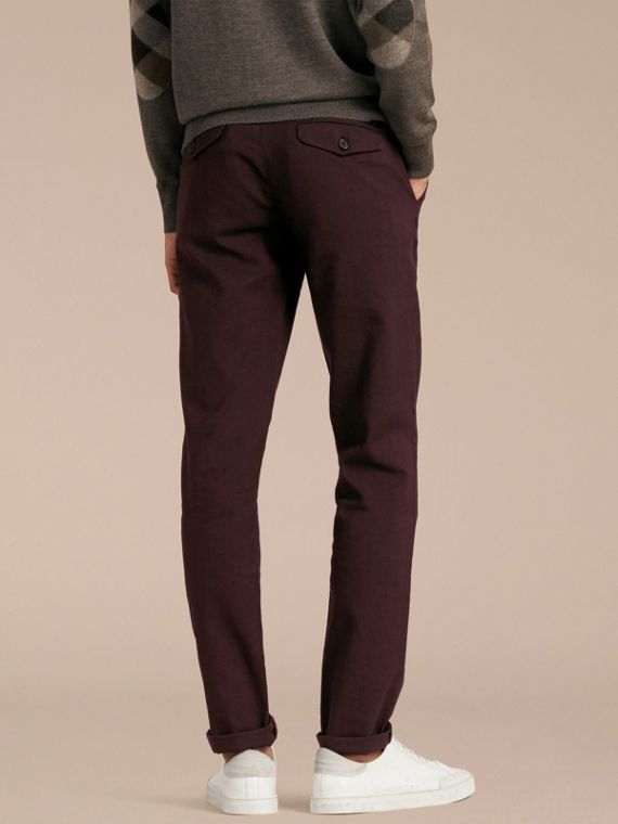 Deep claret Tailored Cotton Wool Blend Trousers - cell image 2