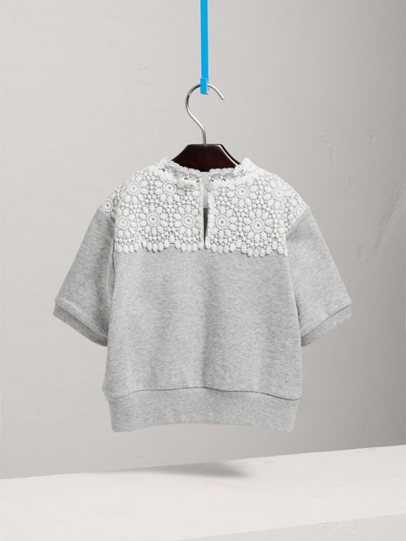 Short-sleeve Lace Detail Cotton Jersey Sweatshirt in Grey Melange - Girl | Burberry - cell image 3