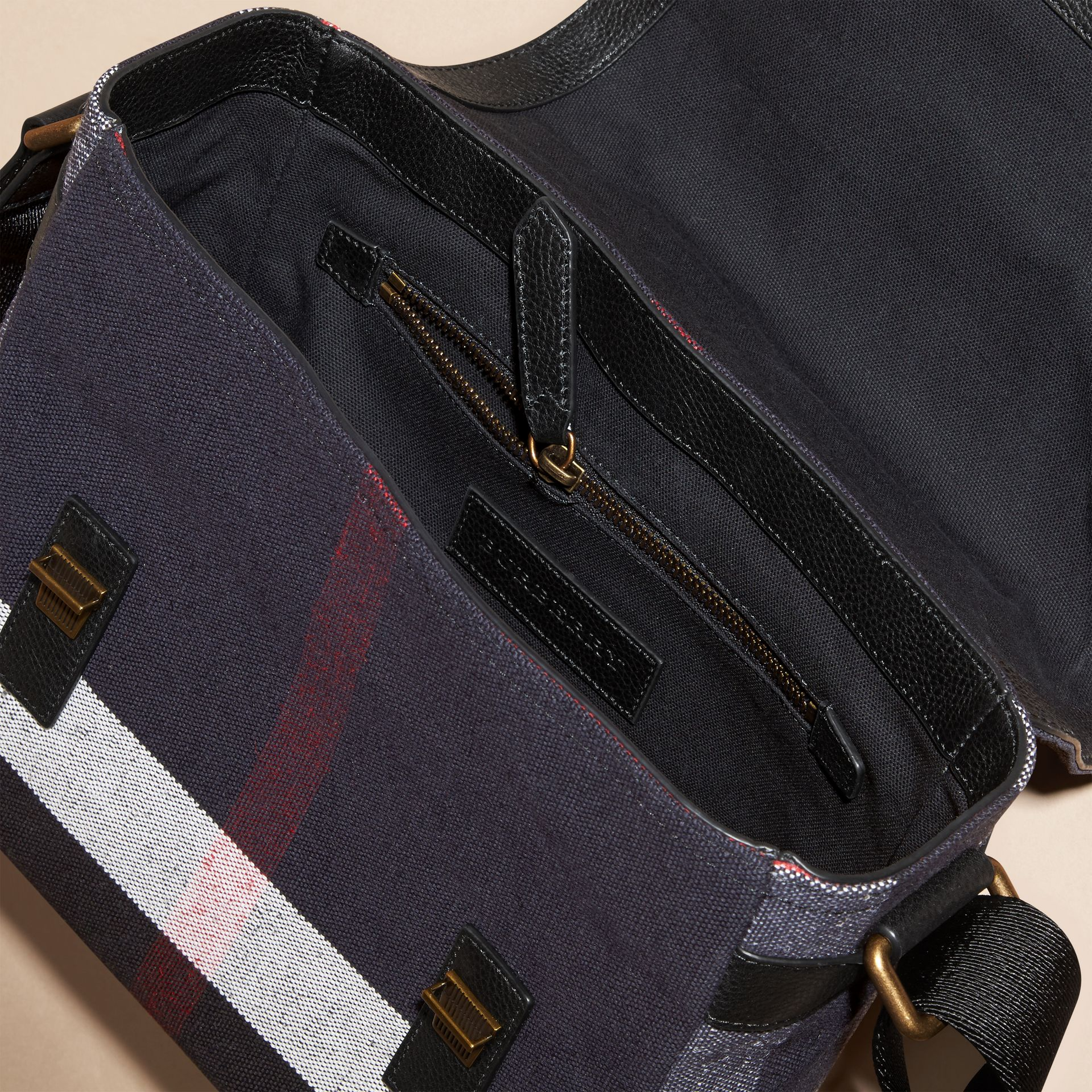 Leather Trim Canvas Check Messenger Bag - gallery image 5