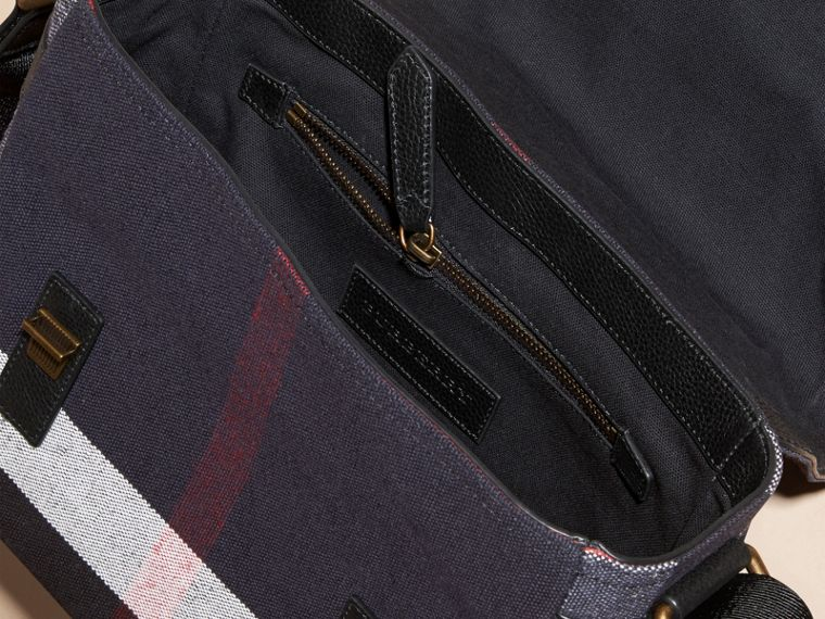 Black Leather Trim Canvas Check Messenger Bag - cell image 4