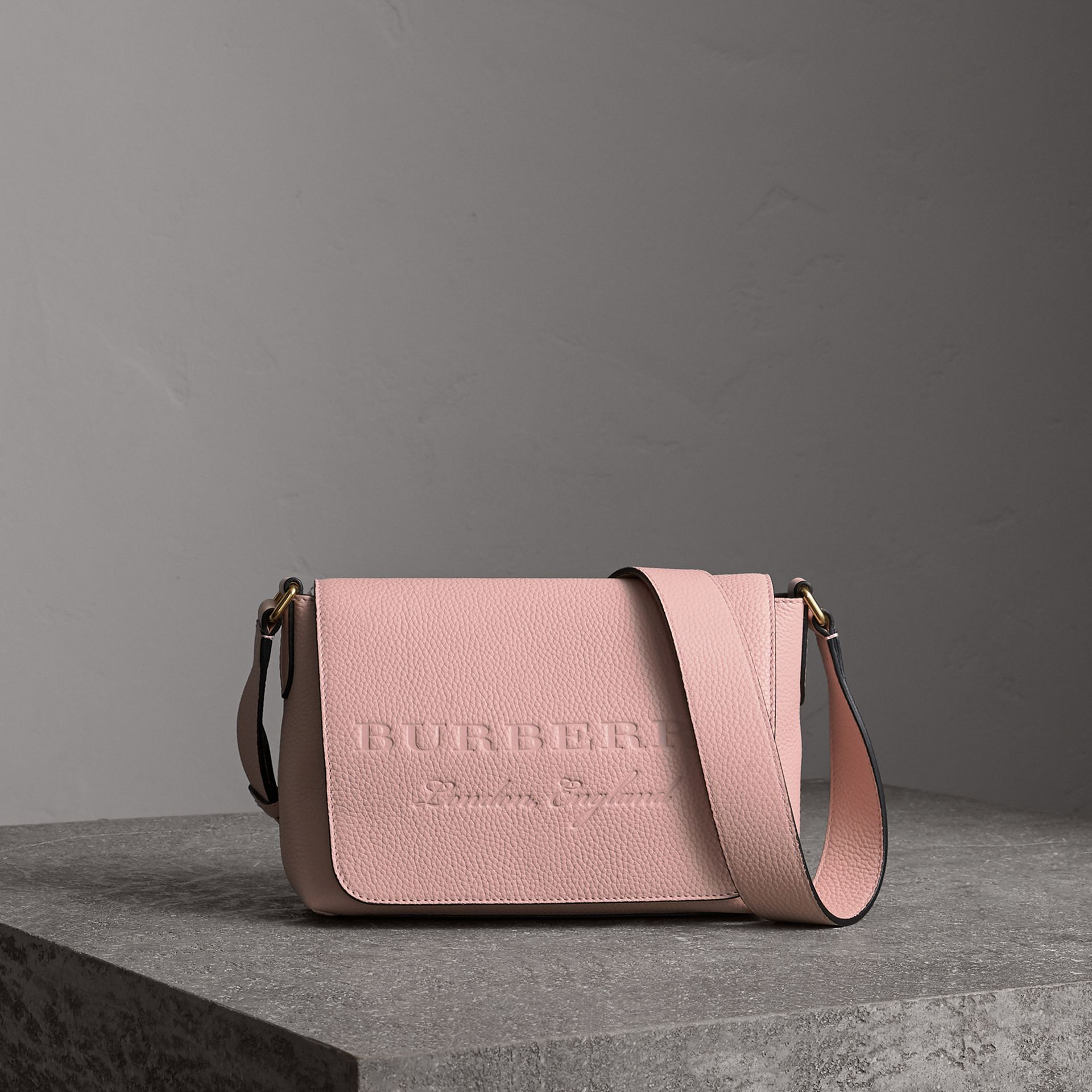 Small Embossed Leather Messenger Bag in Pale Ash Rose - Women | Burberry - gallery image 0