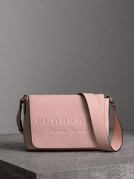 Small Embossed Leather Messenger Bag in Pale Ash Rose