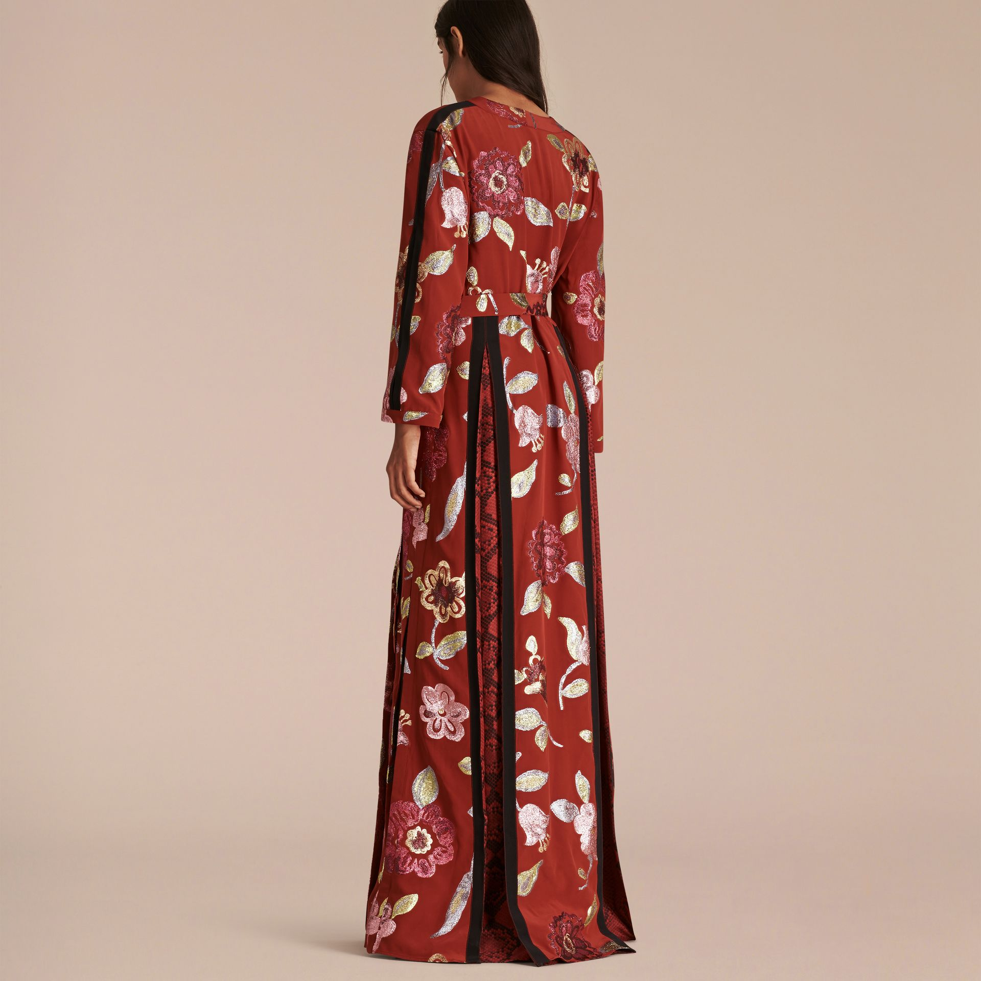 Burnt sienna Floral Fil Coupé Trimmed Silk Wrap Gown - gallery image 3