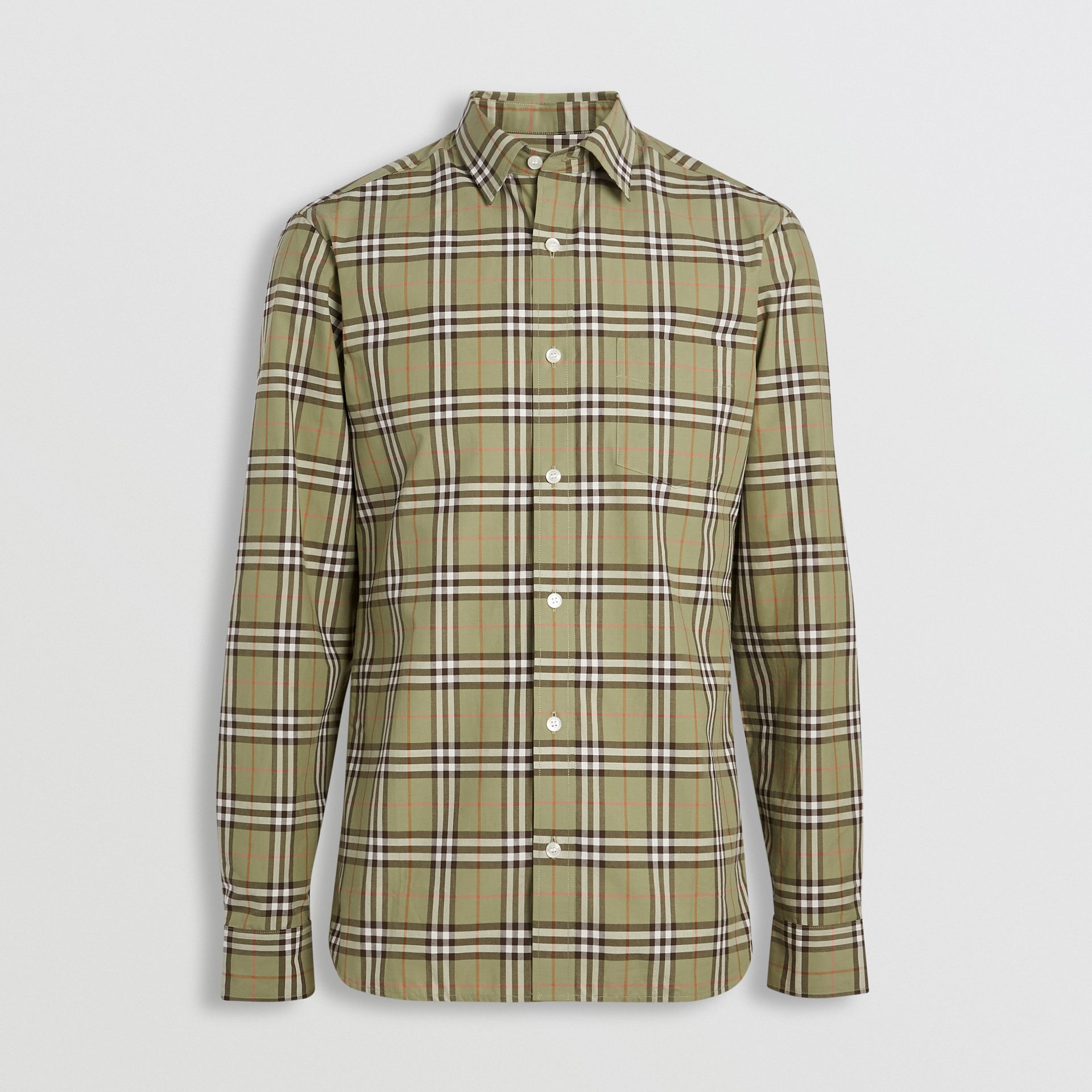 Check Cotton Shirt in Pale Powdr Green - Men | Burberry - gallery image 3
