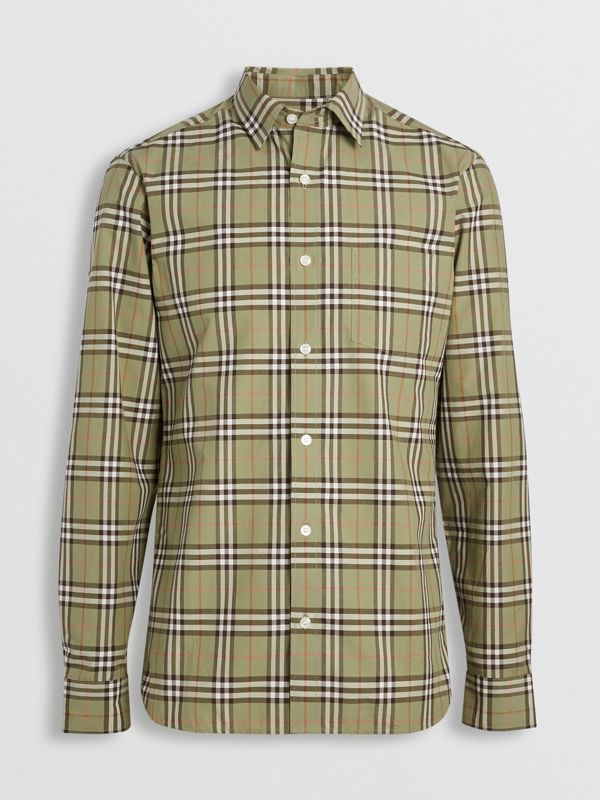 Check Cotton Shirt in Pale Powdr Green - Men | Burberry - cell image 3