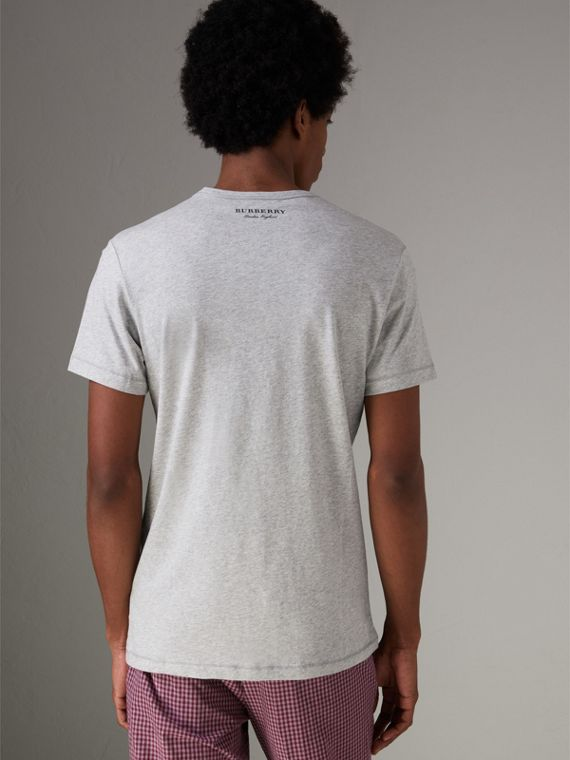 Bust Print Mélange Cotton T-shirt in Pale Grey Melange - Men | Burberry United Kingdom - cell image 2