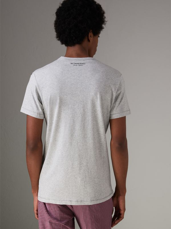 Bust Print Mélange Cotton T-shirt in Pale Grey Melange - Men | Burberry - cell image 2