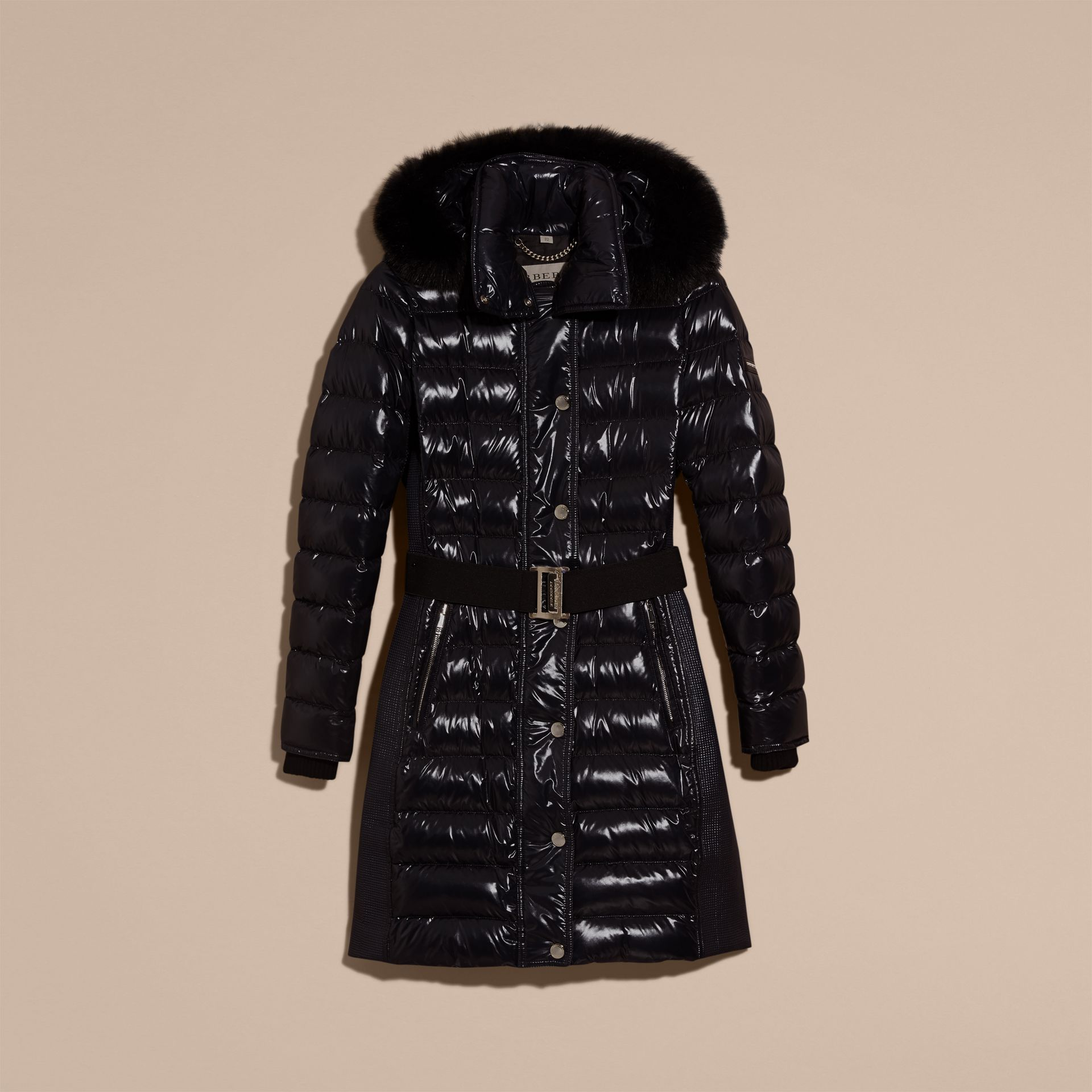 Down-Filled Coat with Detachable Fur-trimmed Hood in Navy - gallery image 4