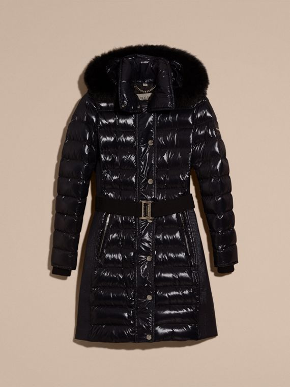 Down-Filled Coat with Detachable Fur-trimmed Hood in Navy - cell image 3