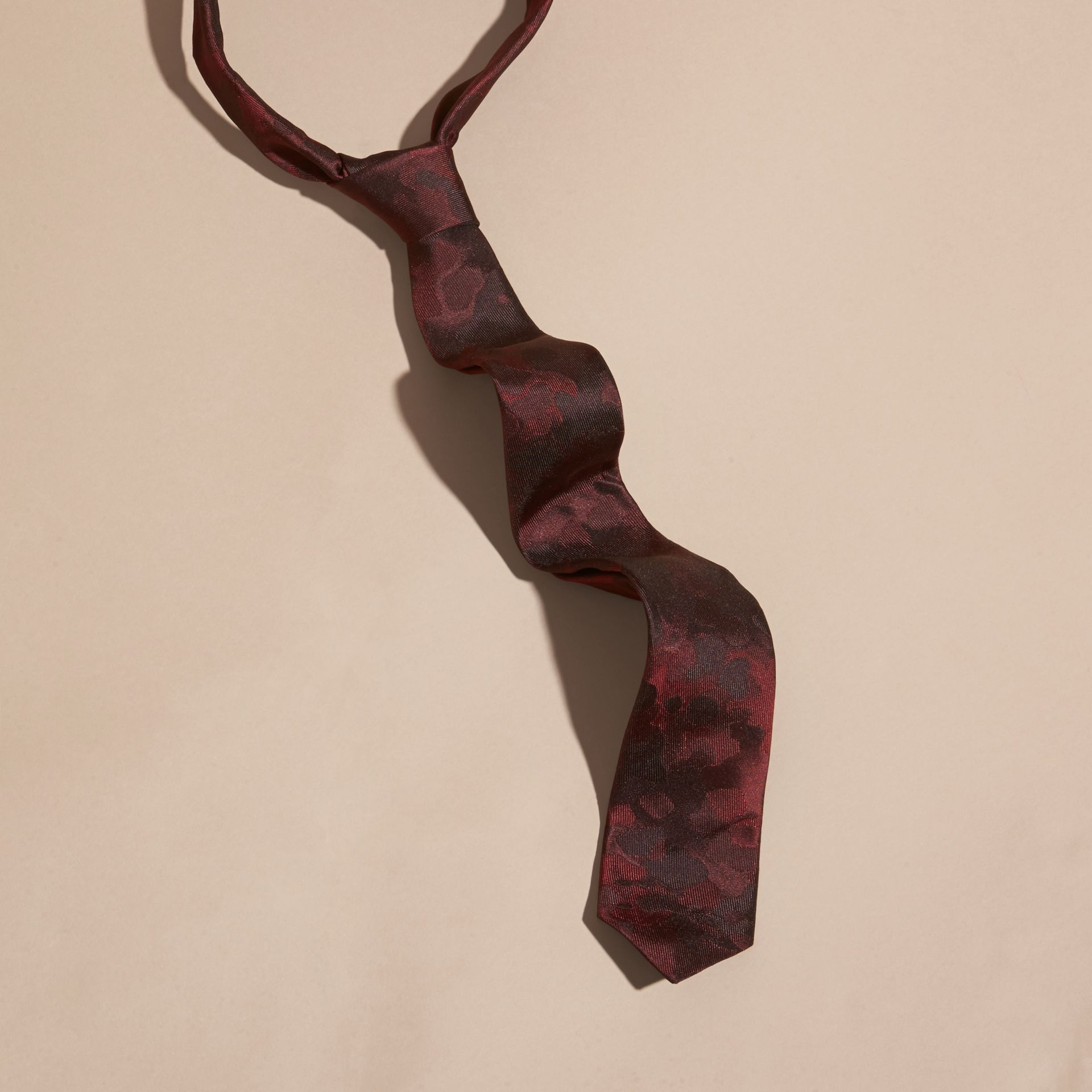 Burgundy red Slim Cut Painterly Pattern Silk Tie - gallery image 1