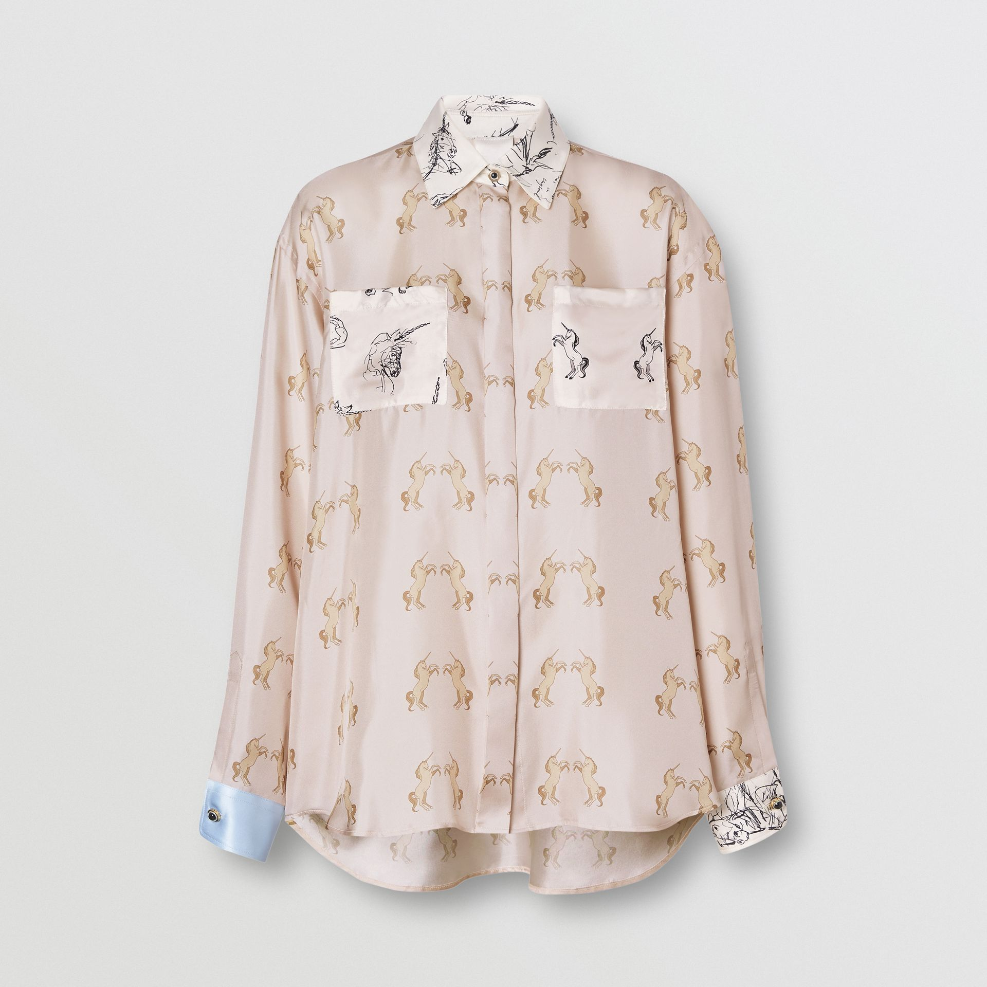 Contrast Unicorn Print Silk Twill Shirt in Pale Pink - Women | Burberry Singapore - gallery image 3