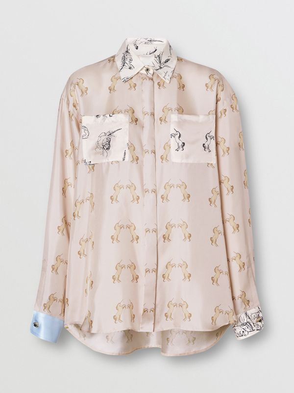 Contrast Unicorn Print Silk Twill Shirt in Pale Pink - Women | Burberry - cell image 3