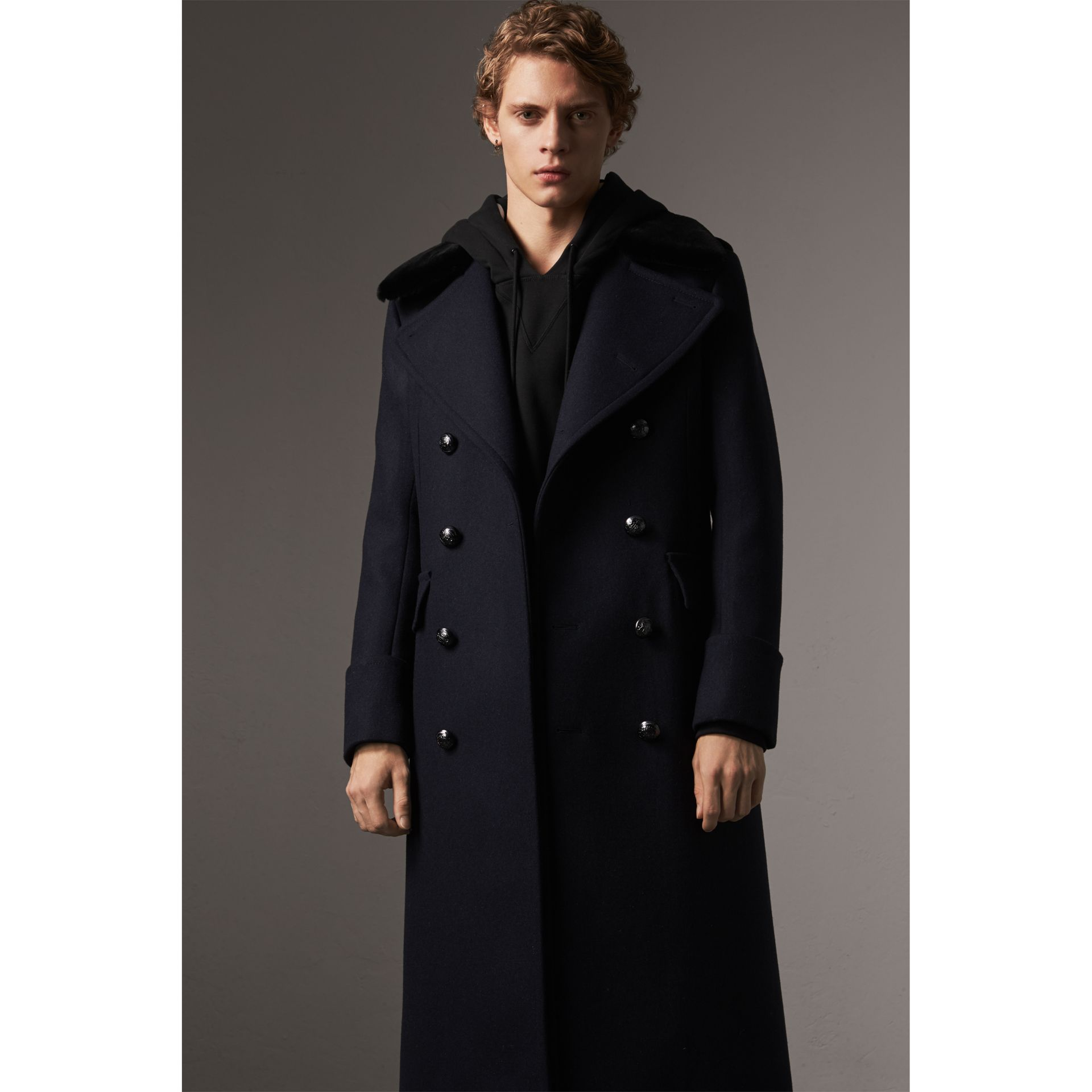 Detachable Mink Collar Wool Greatcoat in Navy - Men | Burberry - gallery image 6