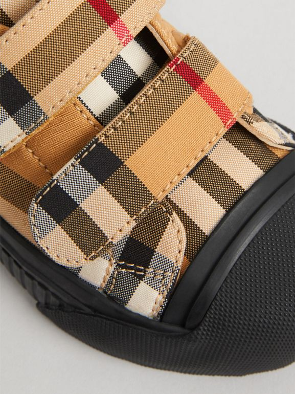 Vintage Check and Leather Sneakers in Antique Yellow/black - Children | Burberry Canada - cell image 1