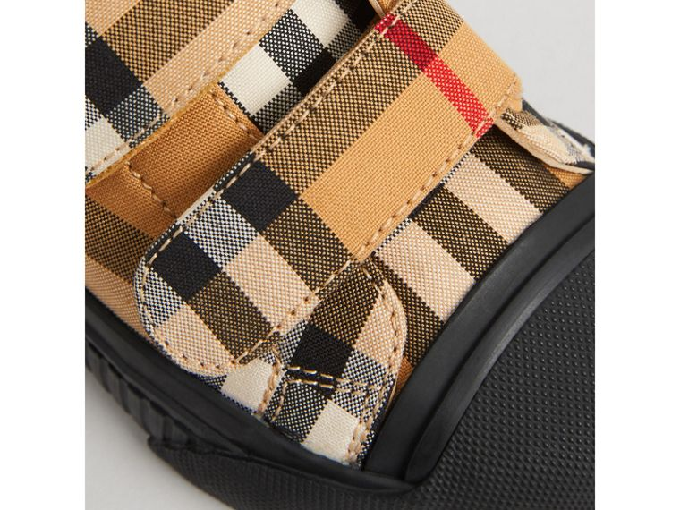 Vintage Check and Leather Sneakers in Antique Yellow/black | Burberry Canada - cell image 1