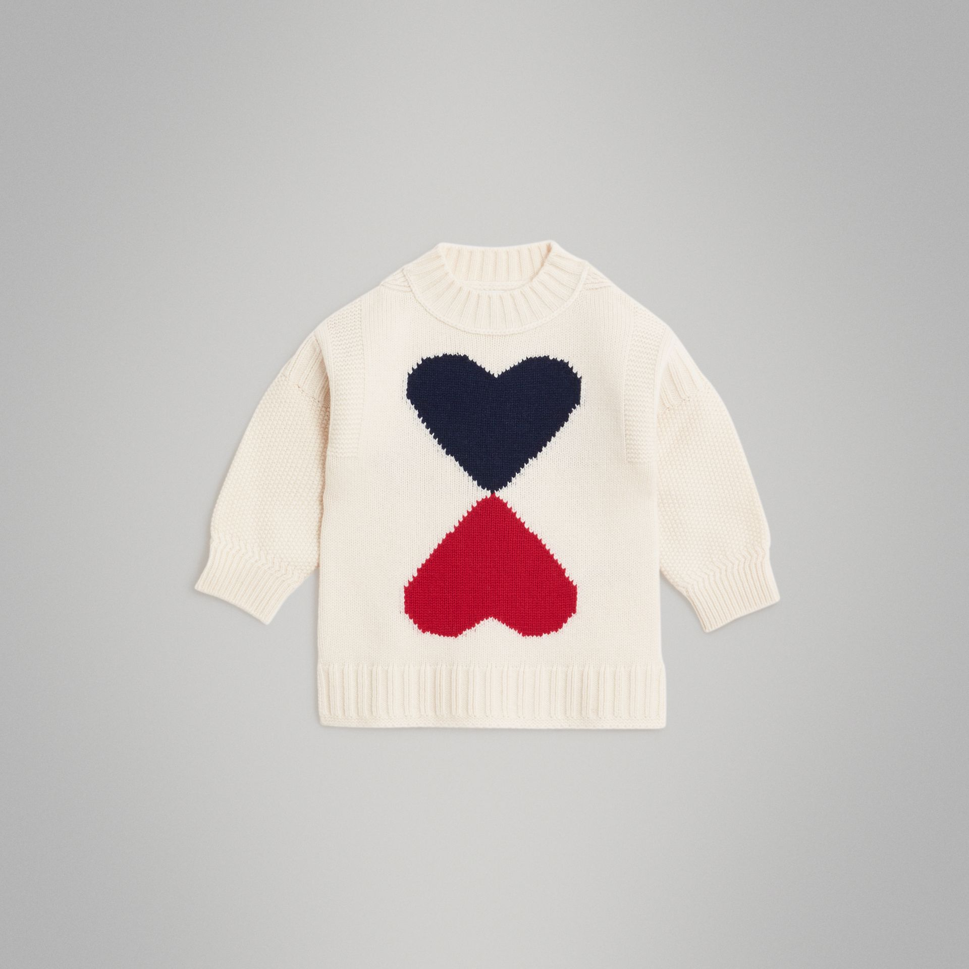 Double Heart Intarsia Wool Cashmere Sweater in Ivory | Burberry - gallery image 0