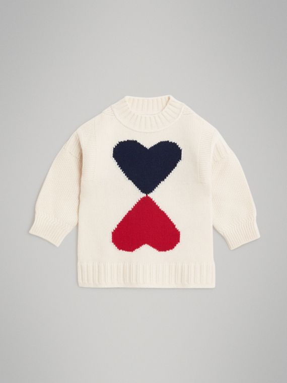Double Heart Intarsia Wool Cashmere Sweater in Ivory