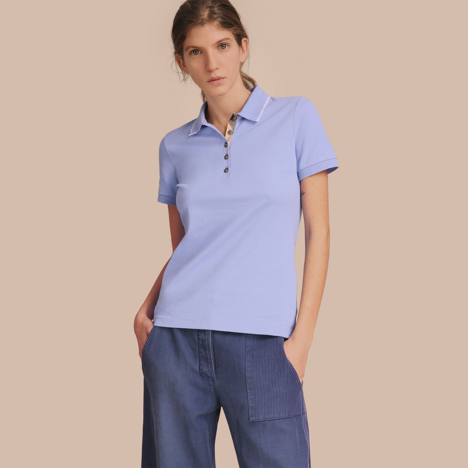 Lace Trim Cotton Blend Polo Shirt with Check Detail in Pale Cornflower Blue - Women | Burberry - gallery image 1