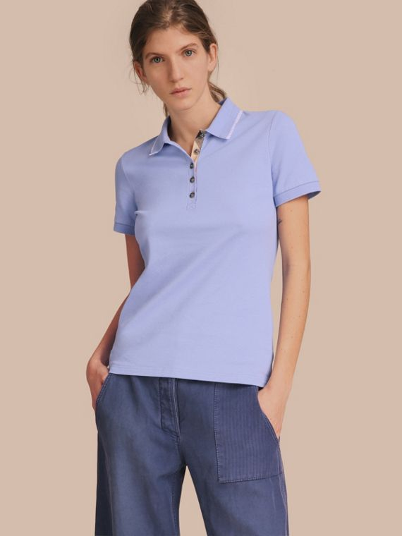 Lace Trim Cotton Blend Polo Shirt with Check Detail Pale Cornflower Blue