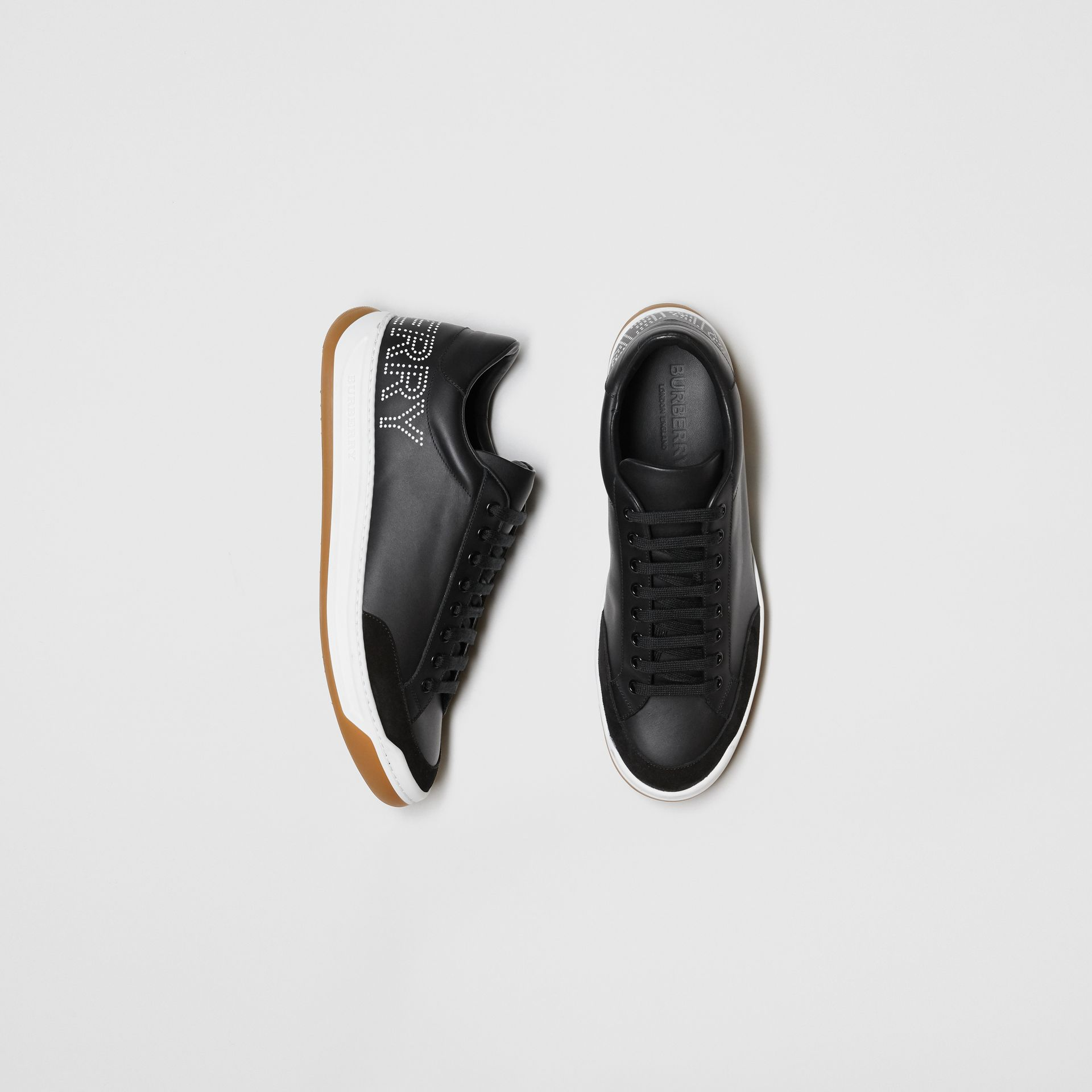Perforated Logo Leather Tennis Sneakers in Black/optic White - Men | Burberry United Kingdom - gallery image 0