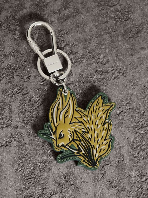 Beasts Leather Key Ring in Honey | Burberry Canada