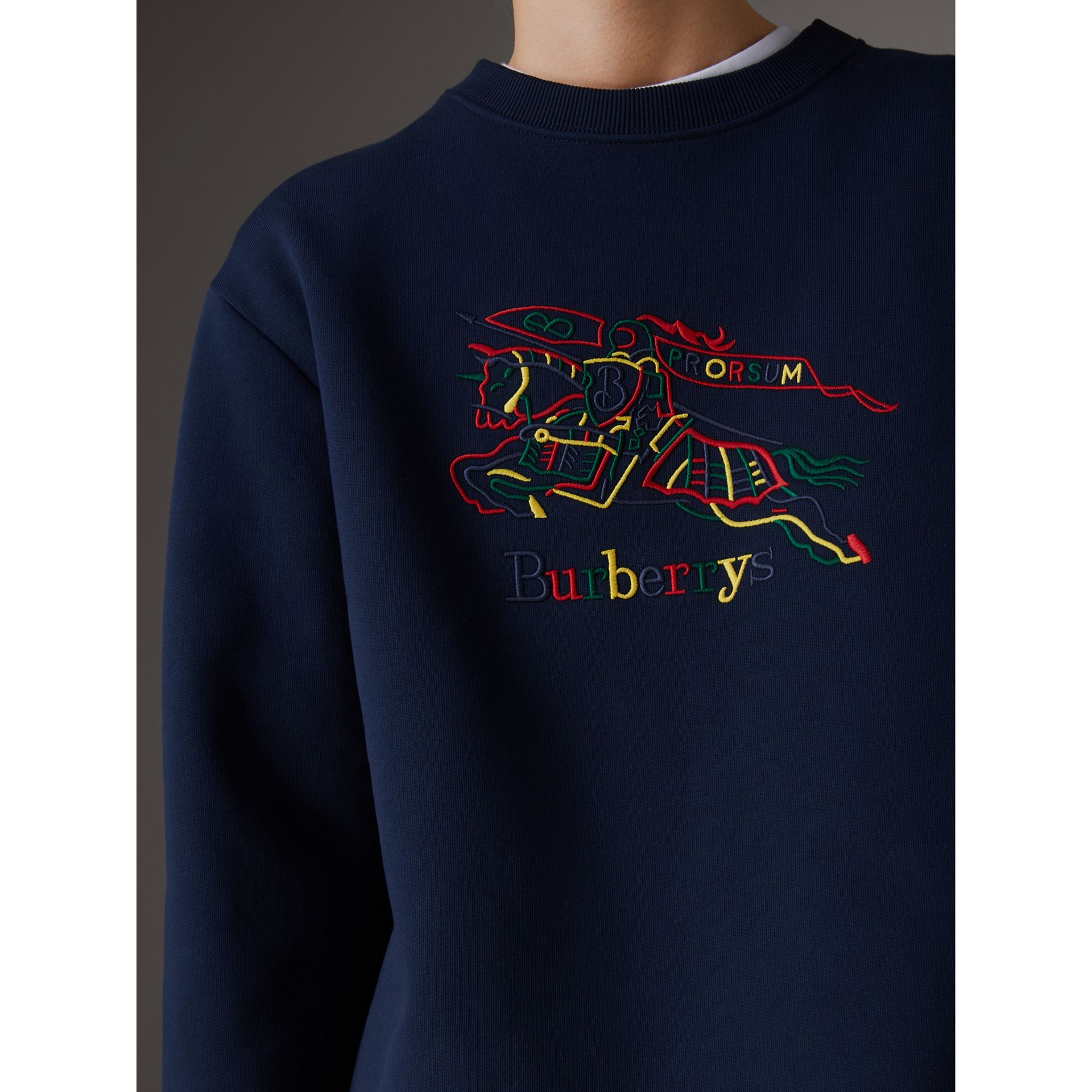 Reissued Jersey Sweatshirt in Dark Blue - Women | Burberry - gallery image 1