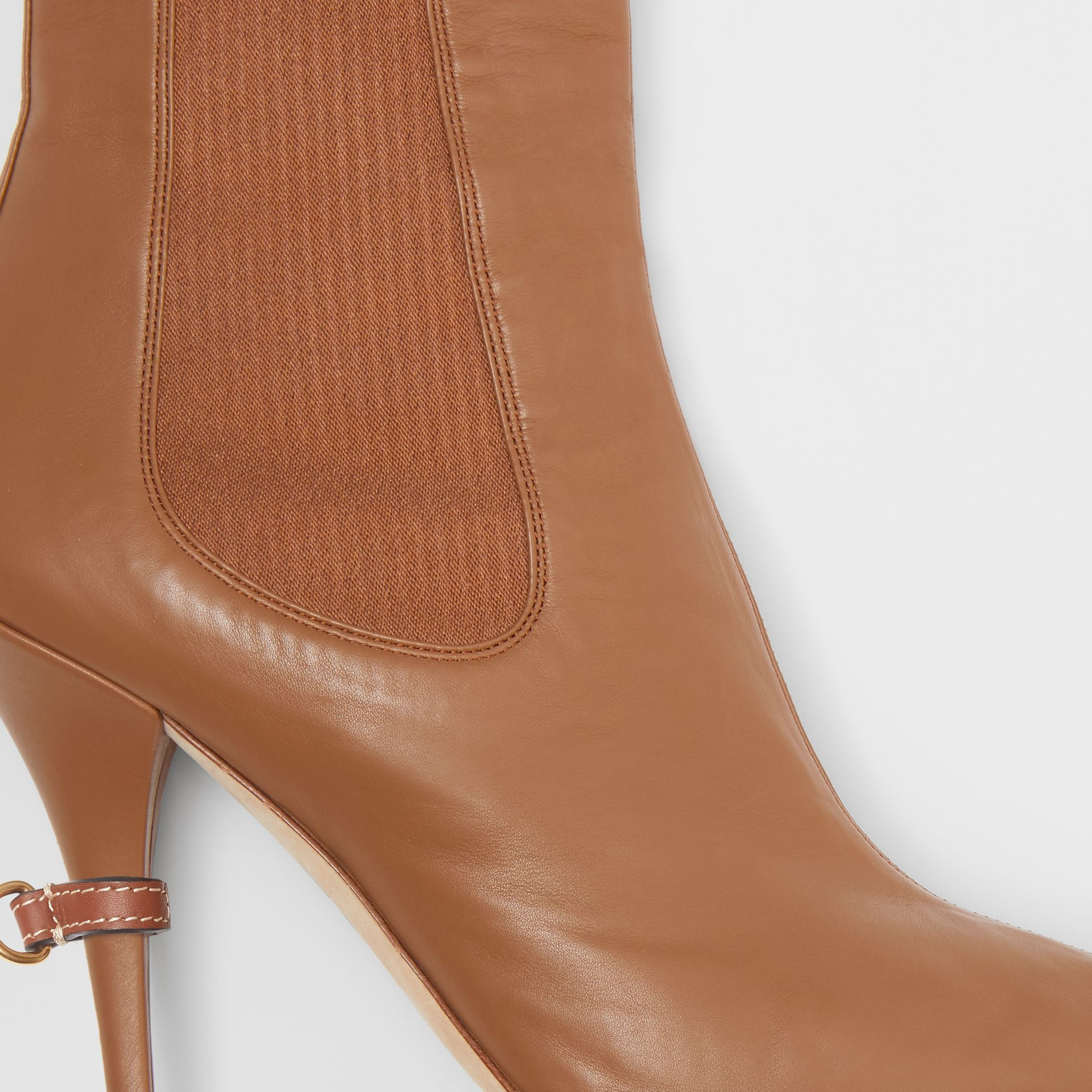 Leather Peep-toe Ankle Boots in Amber Brown - Women | Burberry - gallery image 1
