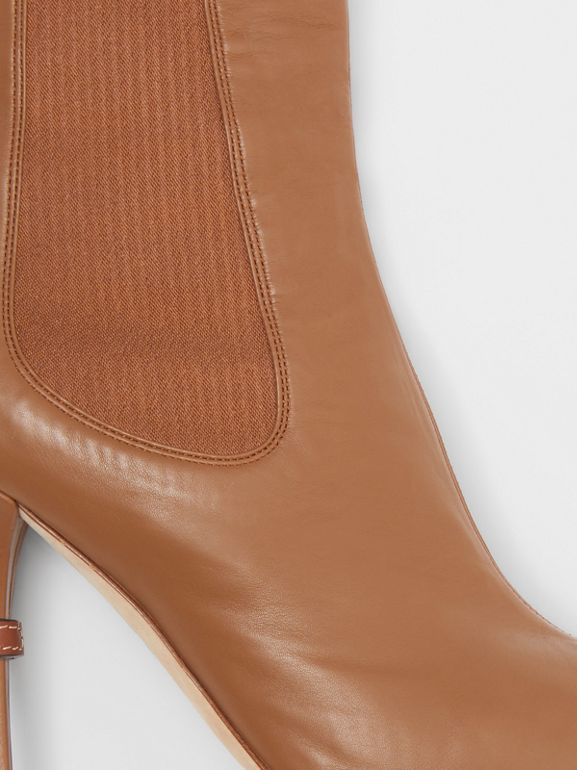 Leather Peep-toe Ankle Boots in Amber Brown - Women | Burberry - cell image 1