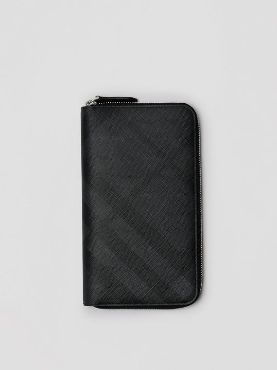 London Check Ziparound Wallet in Charcoal/black