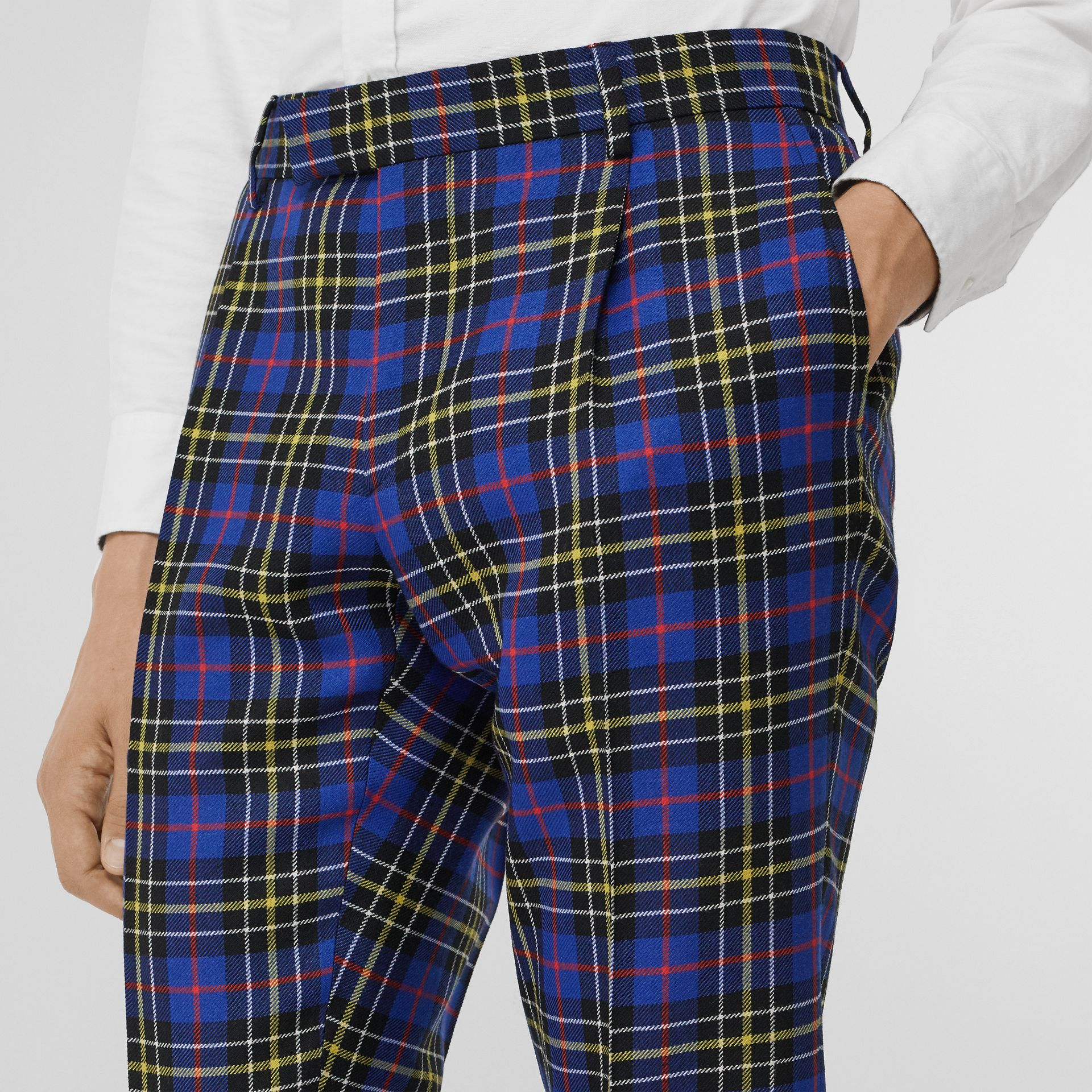 Soho Fit Tartan Wool Tailored Trousers in Sapphire Blue - Men | Burberry - gallery image 1