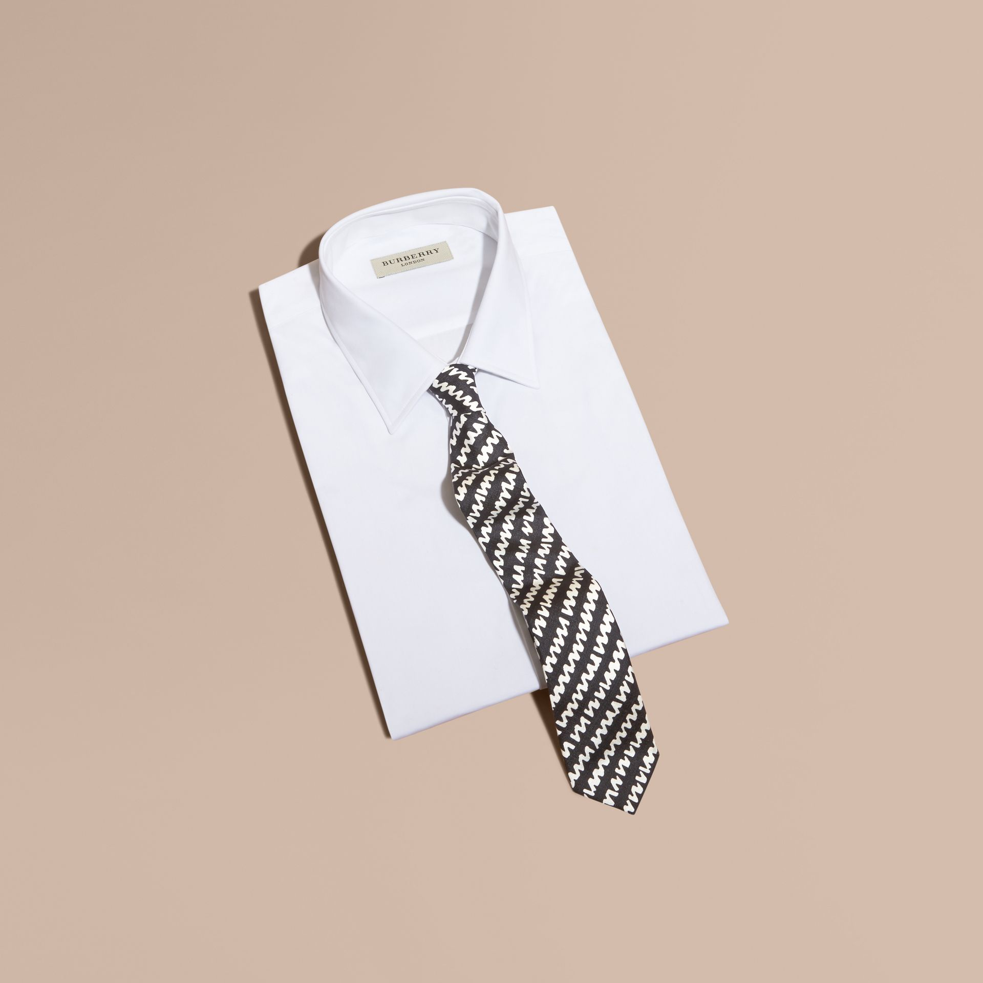 Black Slim Cut Graphic Print Silk Tie - gallery image 3