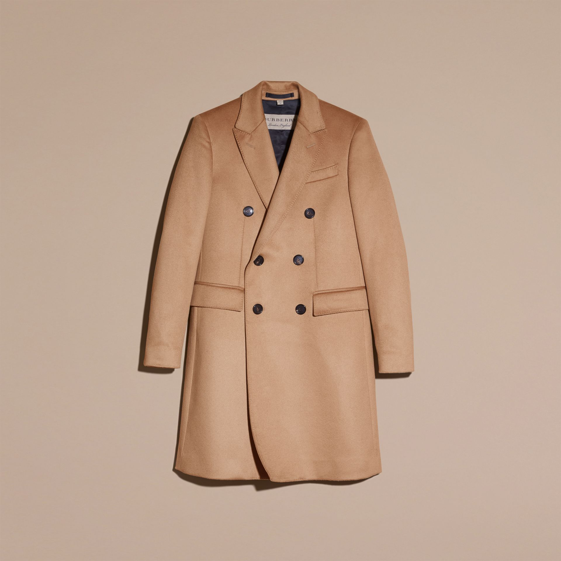 Camel Double-breasted Tailored Cashmere Coat - gallery image 4