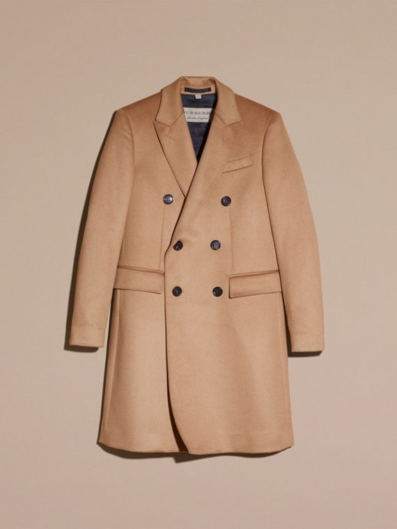 Camel Double-breasted Tailored Cashmere Coat - cell image 3