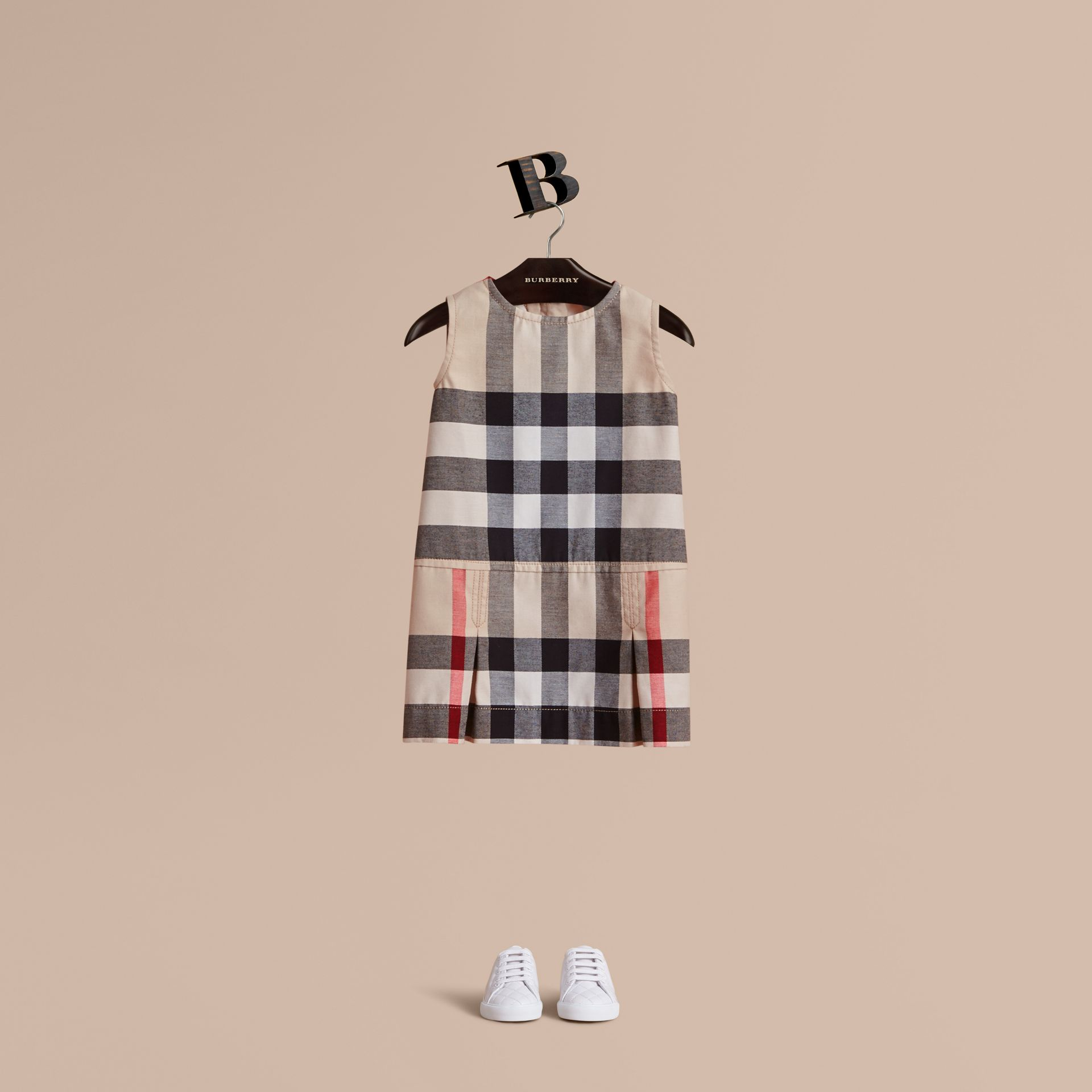 Pleated Washed Check Cotton A-line Dress in Stone | Burberry - gallery image 1