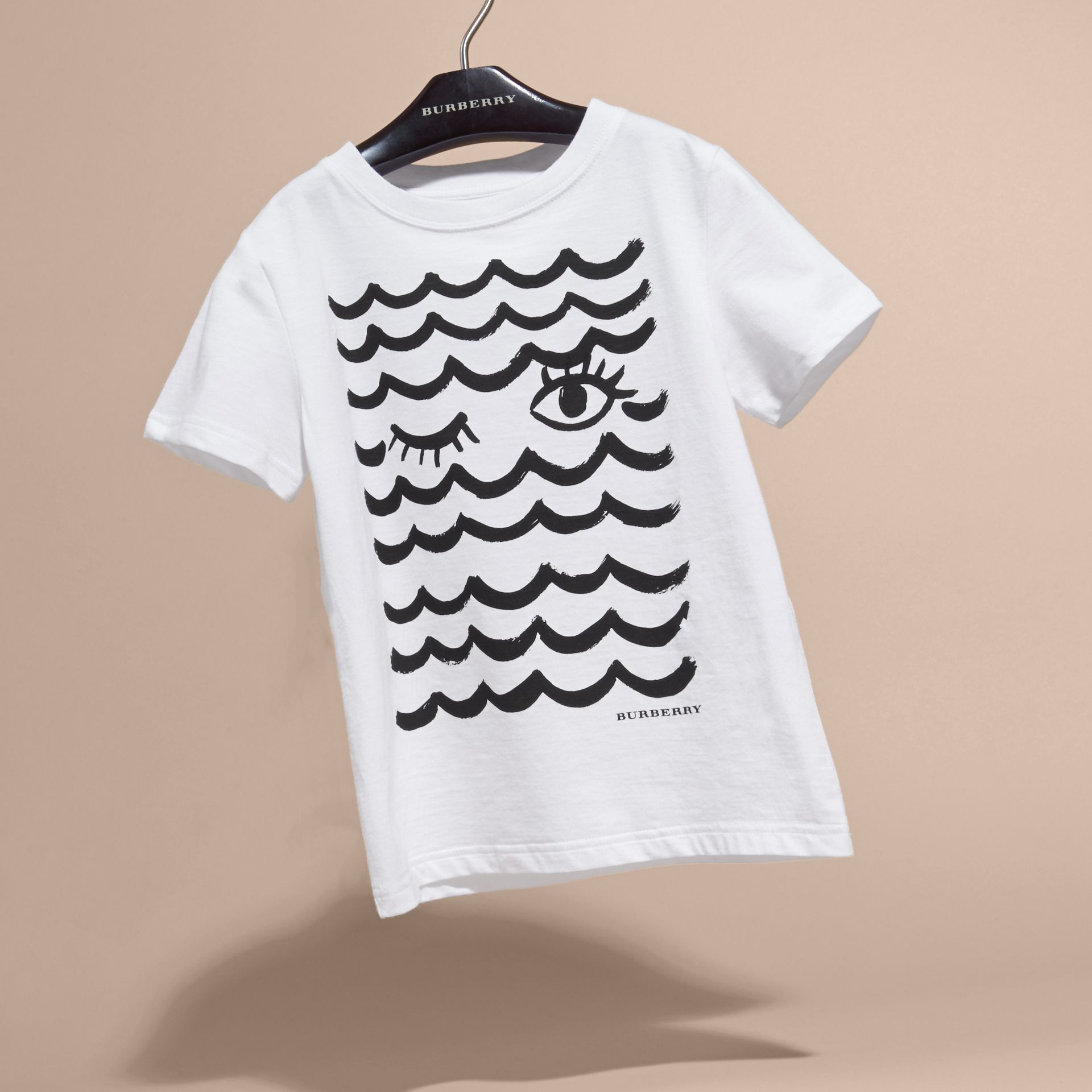 Waves and Eye Graphic Print Cotton T-shirt in White | Burberry - gallery image 3