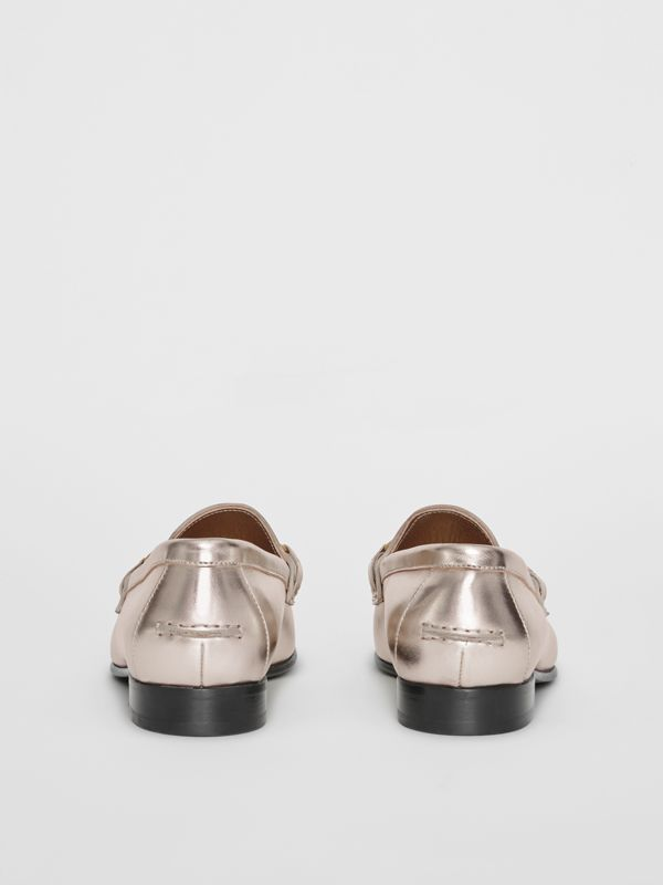 The Metallic Leather Link Loafer in Light Gold - Women | Burberry - cell image 3