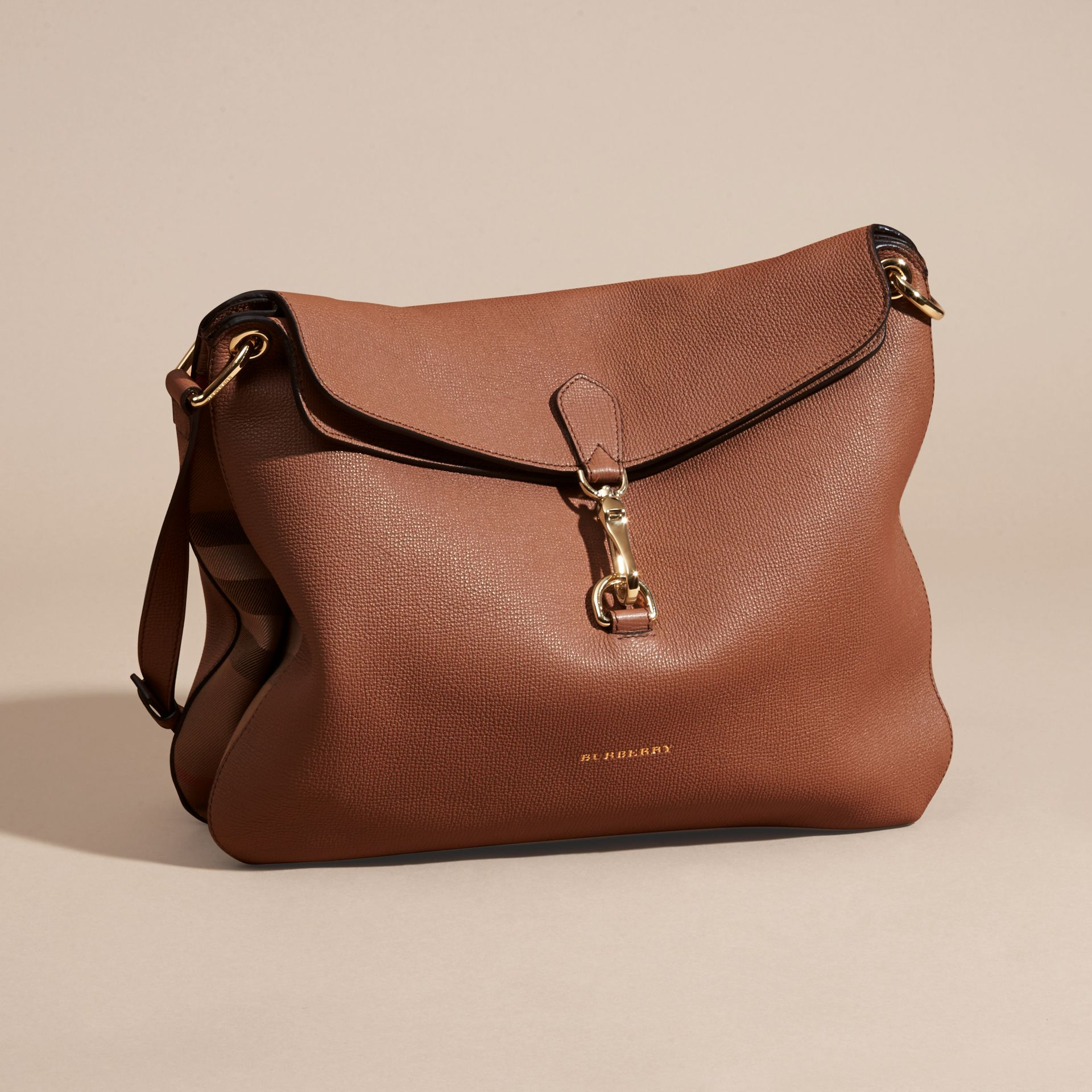 Dark sand Grainy Leather and House Check Shoulder Bag Dark Sand - gallery image 7