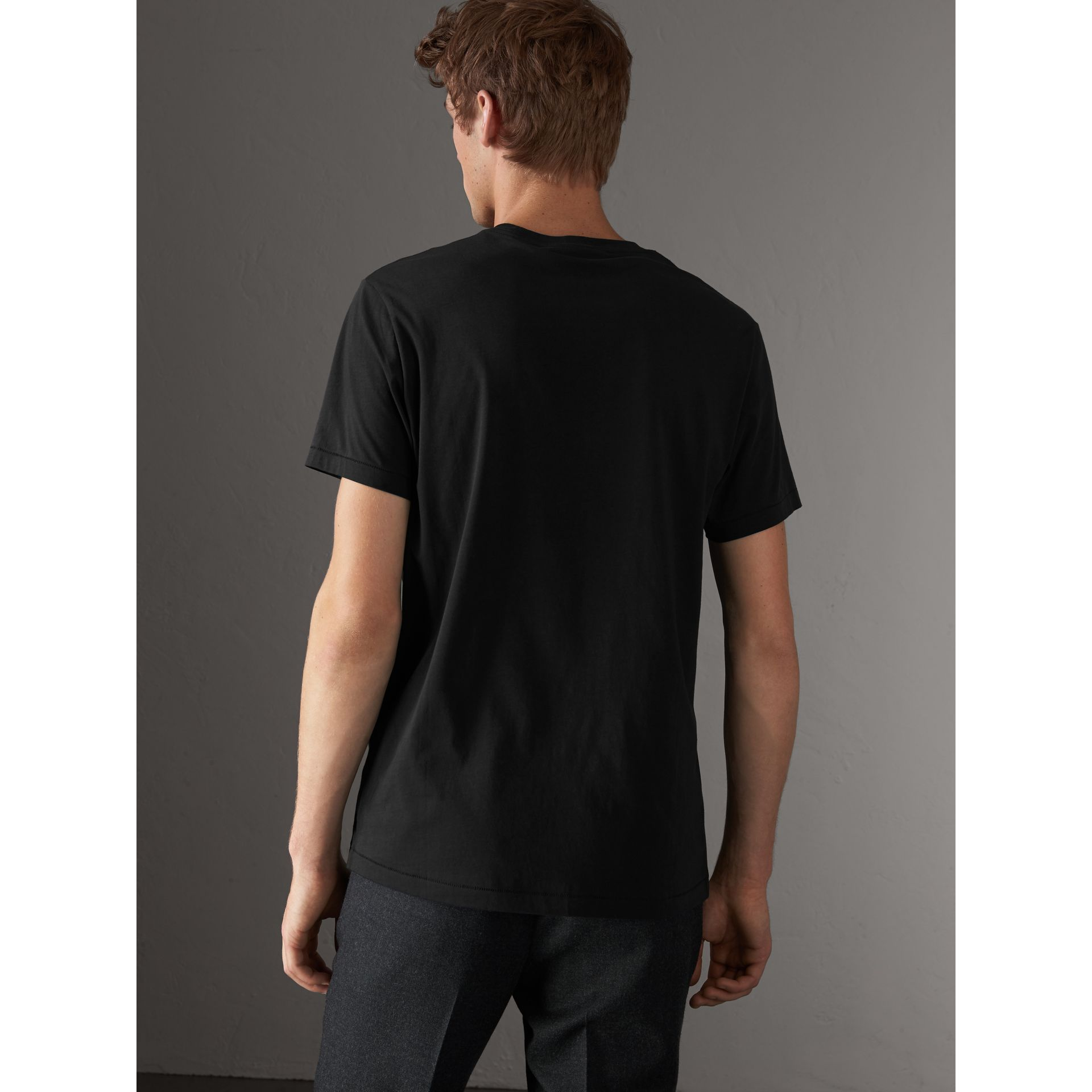 Cotton Jersey T-shirt in Black - Men | Burberry - gallery image 2