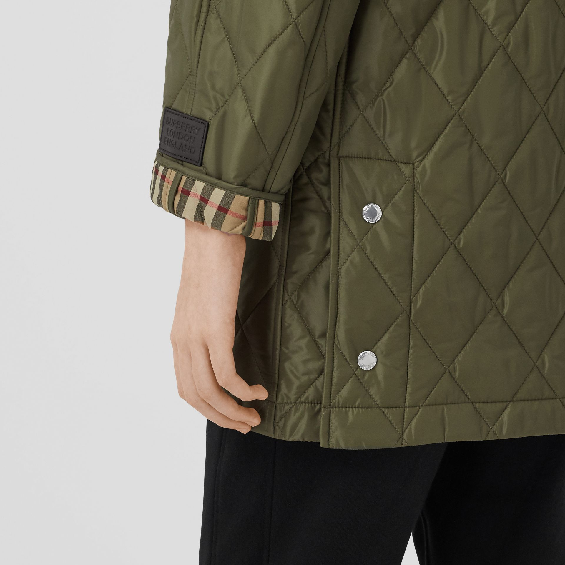Diamond Quilted Hooded Coat in Cadet Green - Women | Burberry - gallery image 4