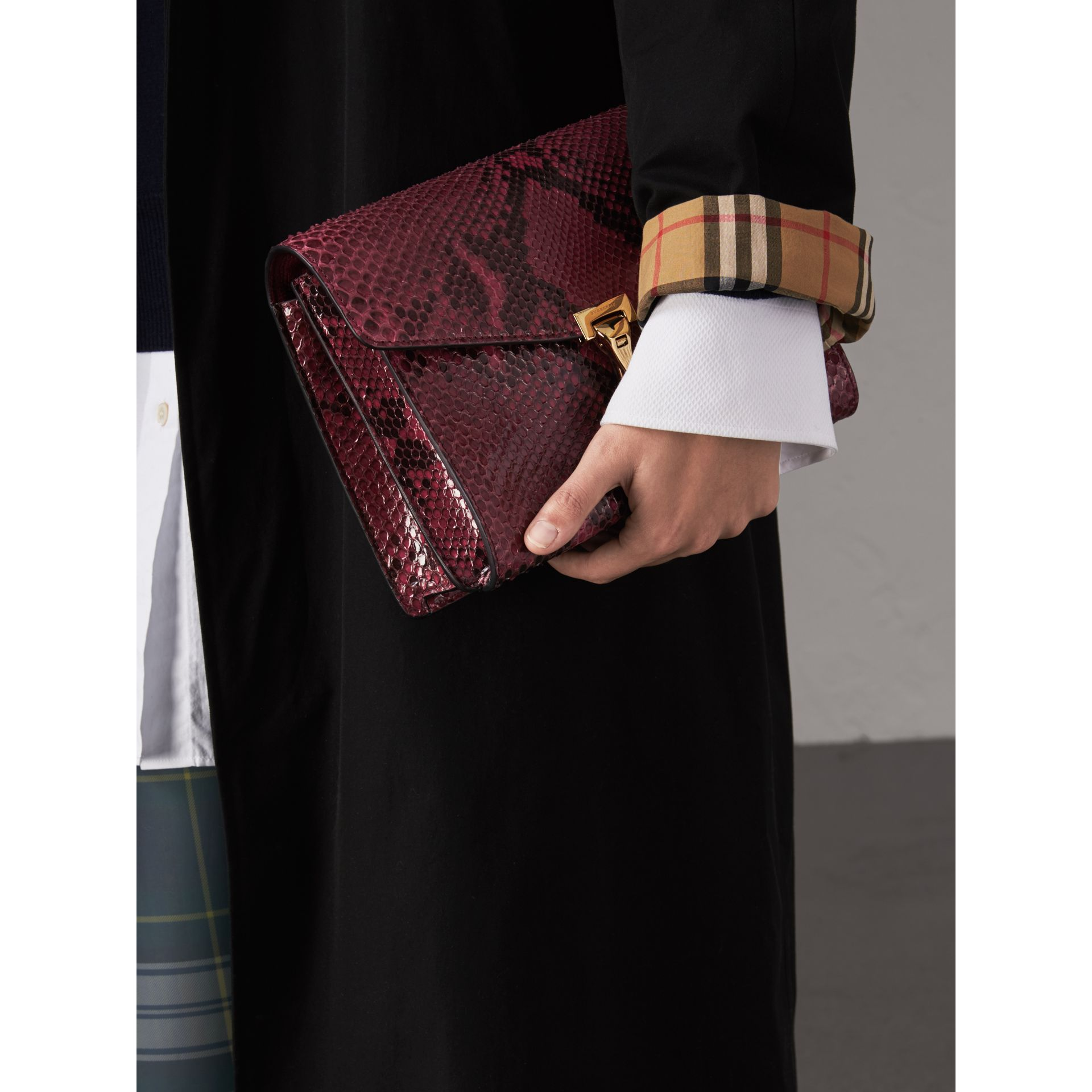Small Python Crossbody Bag in Claret Pink - Women | Burberry United Kingdom - gallery image 3