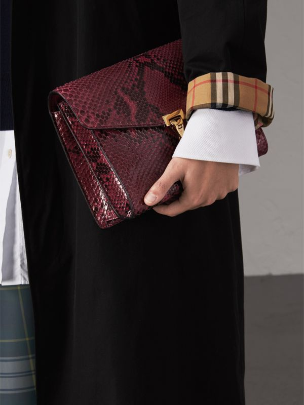 Small Python Crossbody Bag in Claret Pink - Women | Burberry - cell image 3