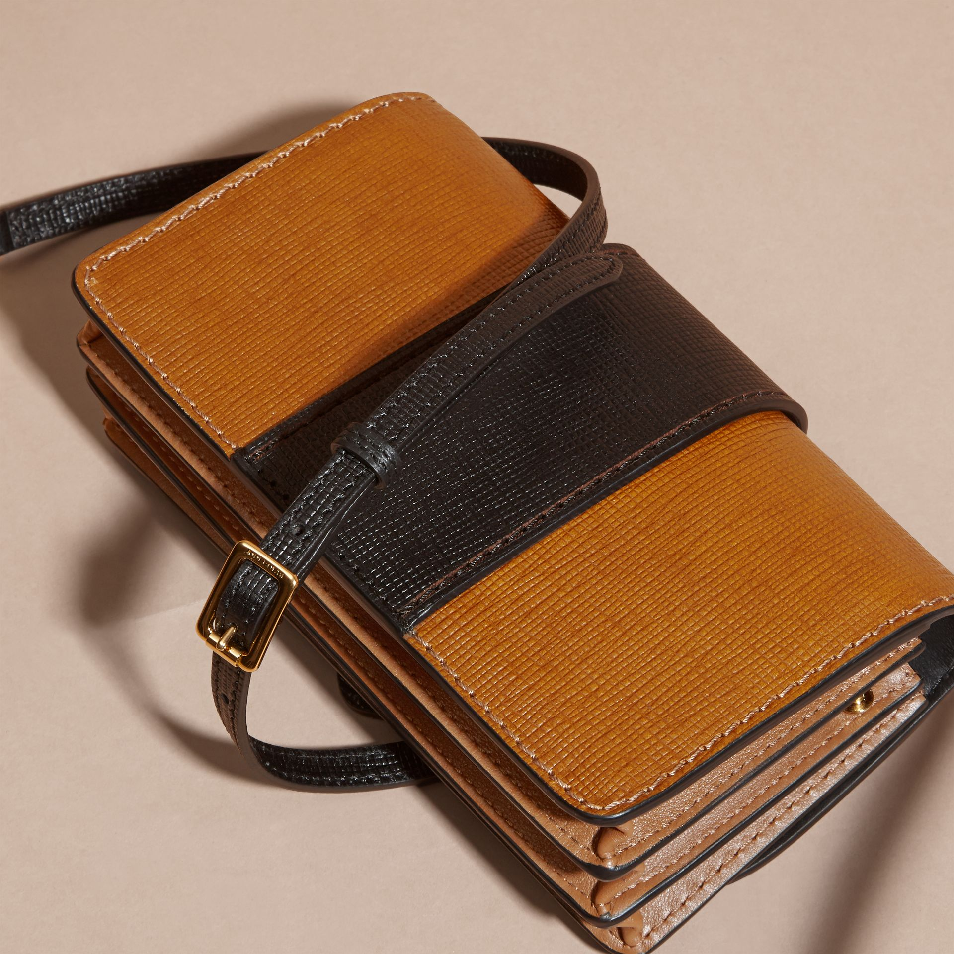 Tan / black The Small Buckle Bag in Grainy Leather - gallery image 5