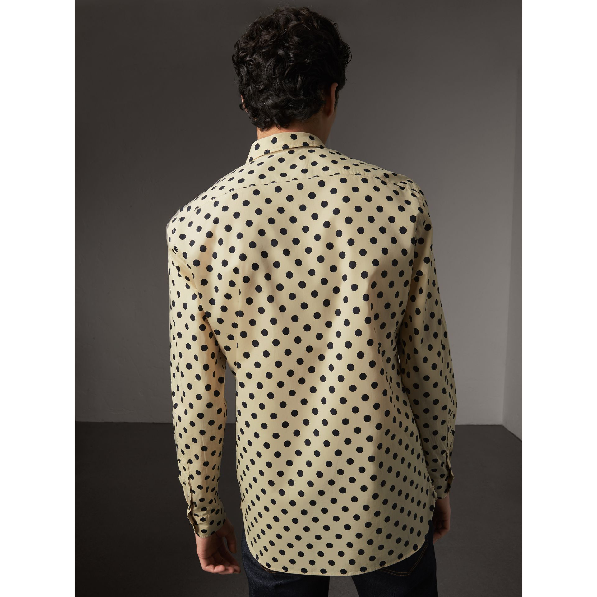 Polka-dot Cotton Shirt in Navy - Men | Burberry United Kingdom - gallery image 3