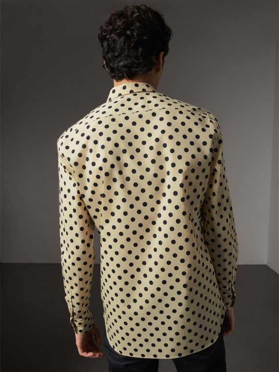 Polka-dot Cotton Shirt in Navy - Men | Burberry United Kingdom - cell image 2
