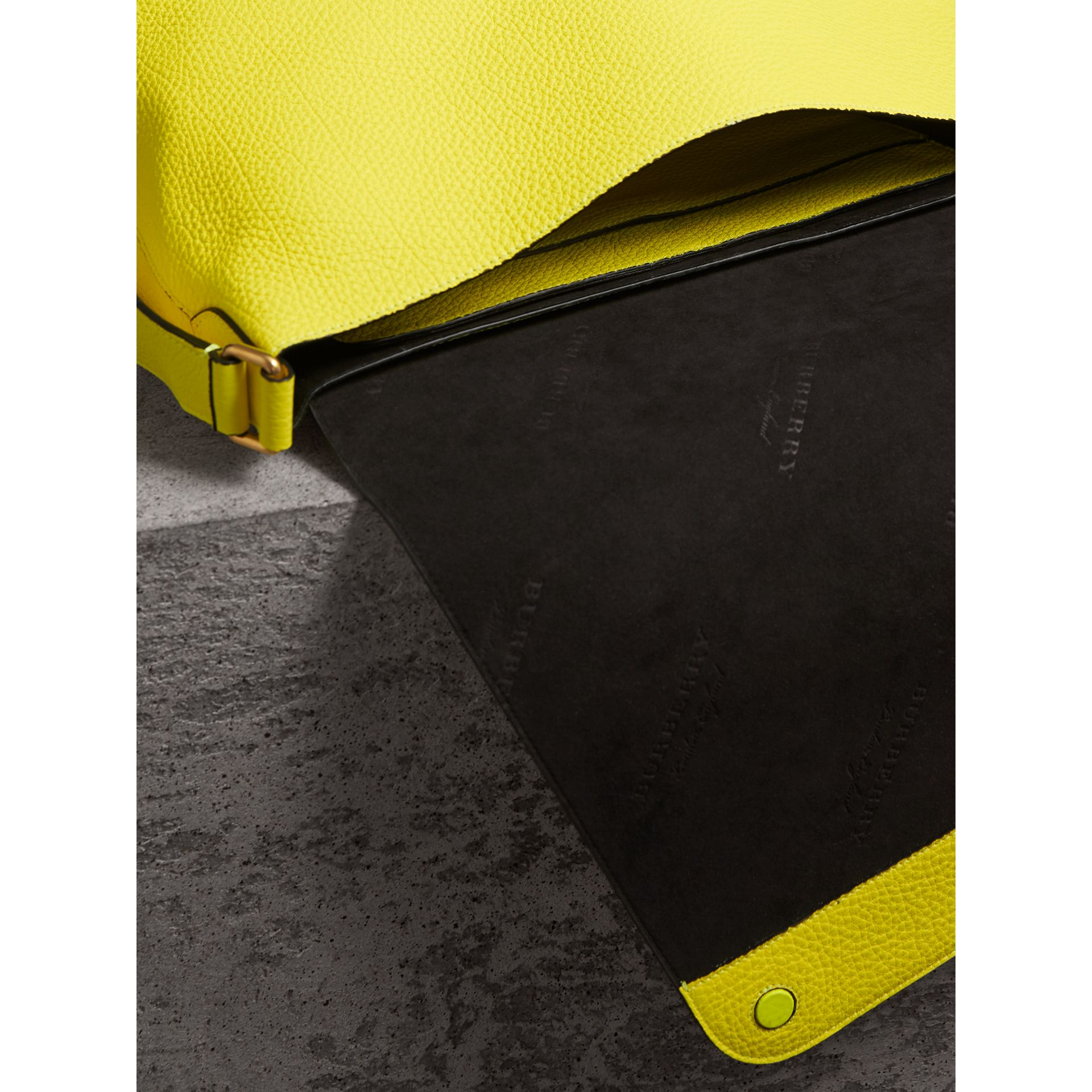 Large Embossed Leather Messenger Bag in Neon Yellow | Burberry - gallery image 5