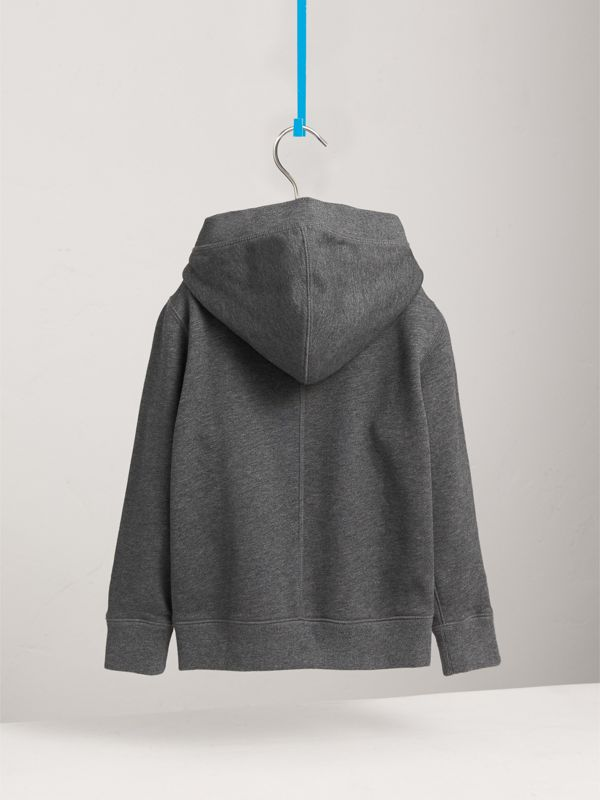 Hooded Cotton Top in Charcoal Melange | Burberry - cell image 3