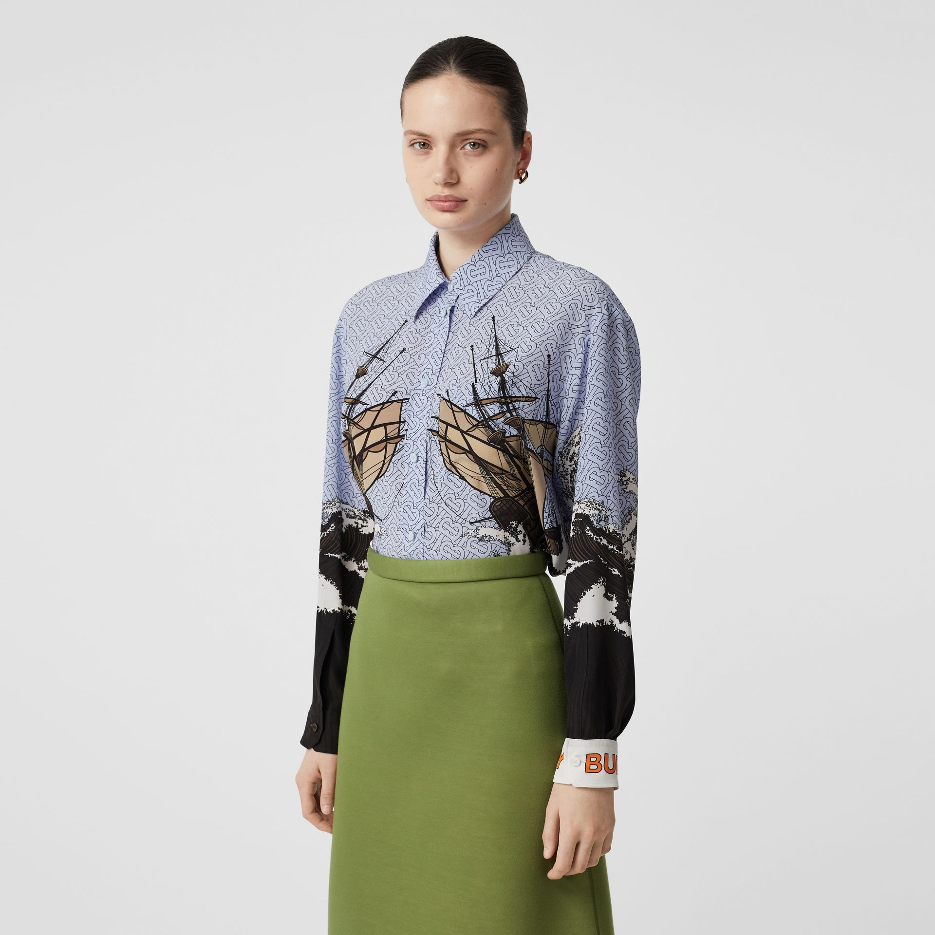 Ship Print Silk Oversized Shirt in Baby Blue - Women | Burberry - gallery image 0