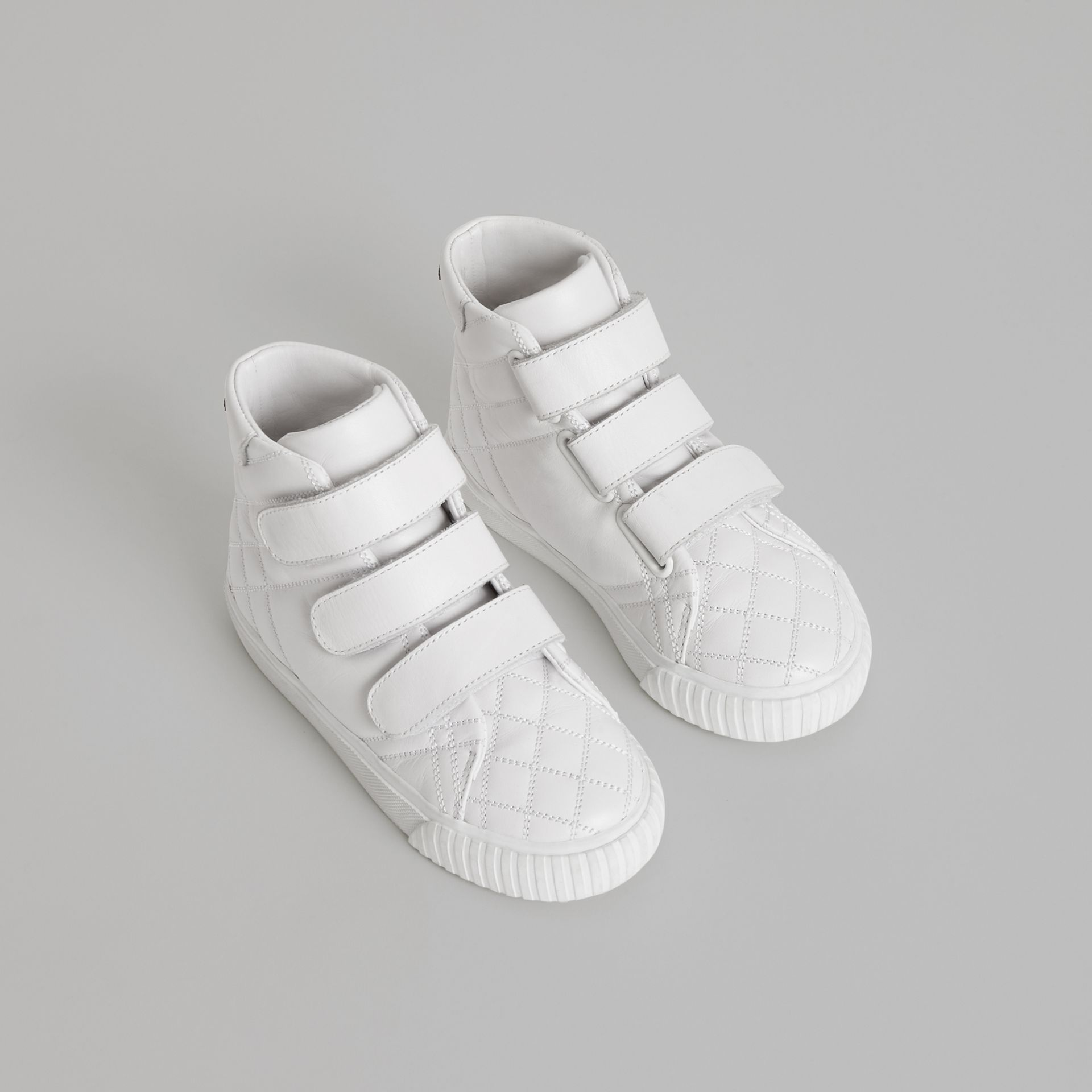 Quilted Leather High-top Sneakers in Optic White | Burberry - gallery image 0